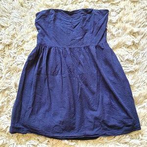 18 Gap Navy Blue Textured Cotton Strapless Dress